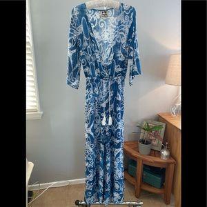 Jaase 3/4 sleeve blue and white jumpsuit
